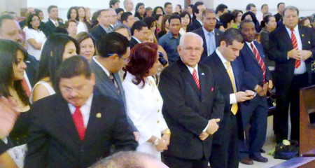 Roberto Micheletti in the Suyapa Basilica in Tegucigalpa this morning.