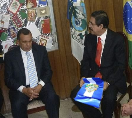 Pepe Lobe and Mel Zelaya in the Brazilian Embassy in Honduras.