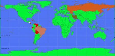 Röda länder är medlemmar i den socialistiska Amerikanska Bolivarianska Alliansen, ALBA. Världspolitiskt är ALBA lierat med Brasilien, Ryssland och Iran. Honduras lämnade ALBA den 13 januari 2010.