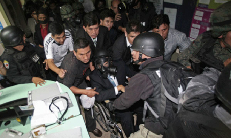 President Rafael Correa of Ecuador in hospital after being exposed to tear gas Sept 30, 2010