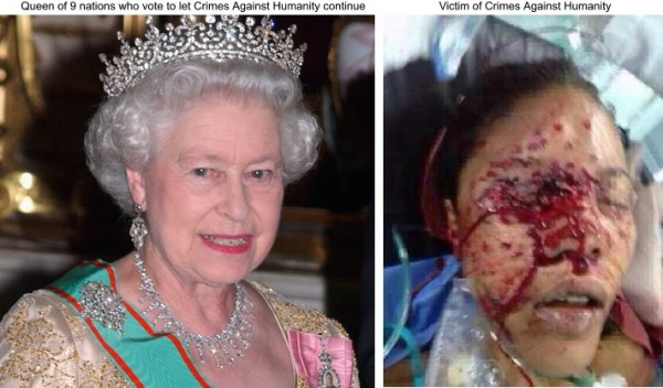 Queen Elizabeth II and a victim of Crimes Against Humanity
