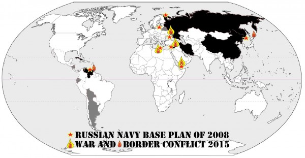 Russia aims to have a global naval presence by 2020, but after losing access to several countries where they had planned to build the necessary overseas navy bases, civil war broke out in those countries. What a coincidence! Black marks Russia and its closest allies.